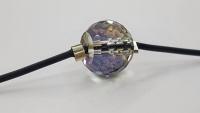 Melna elastīga aproce ar slīpētu stikla pērli